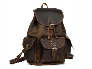 Travelers Leather Backpack Dark Brown - TieThis® Neckwear and Accessories