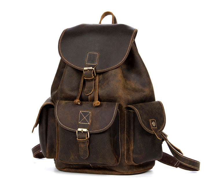 Men - Bags - Backpacks - Travelers Leather Backpack Dark Brown