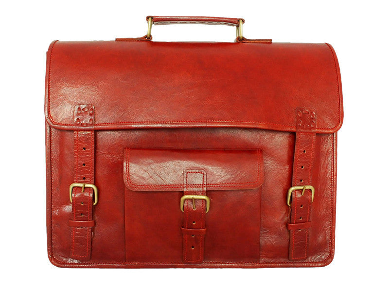 Men - Bags - Crossbody - Bryce Red Leather Satchel
