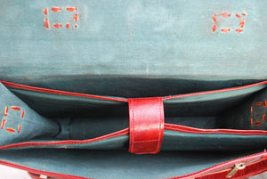 Bryce Red Leather Satchel - TieThis® Neckwear and Accessories