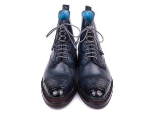 Paul Parkman Navy Blue Crocodile & Calfskin Captoe Boot - TieThis Neckwear and Accessories and TieThis.com