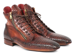 Genuine Crocodile & Calfskin Handmade Zipper Boots - Tie This Menswear and Accessories