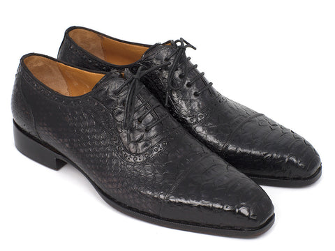 Shoes - Paul Parkman Black Genuine Python Captoe Oxfords (ID#PT246BLK)