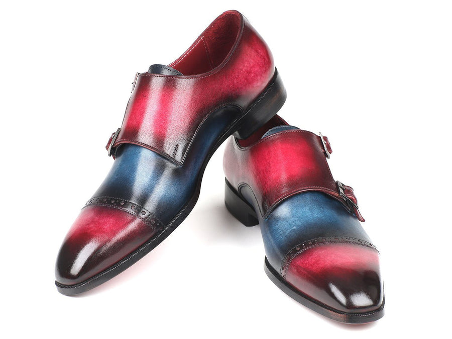 Paul Parkman Blue & Fuscia Captoe Double Monkstraps - TieThis Neckwear and Accessories and TieThis.com