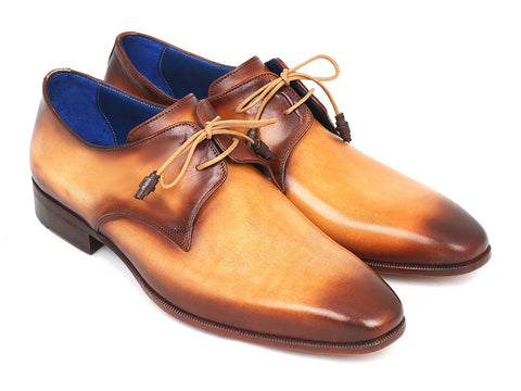 Shoes - Paul Parkman Brown & Camel Hand-Painted Derby Shoes (ID#326-CMLBRW)