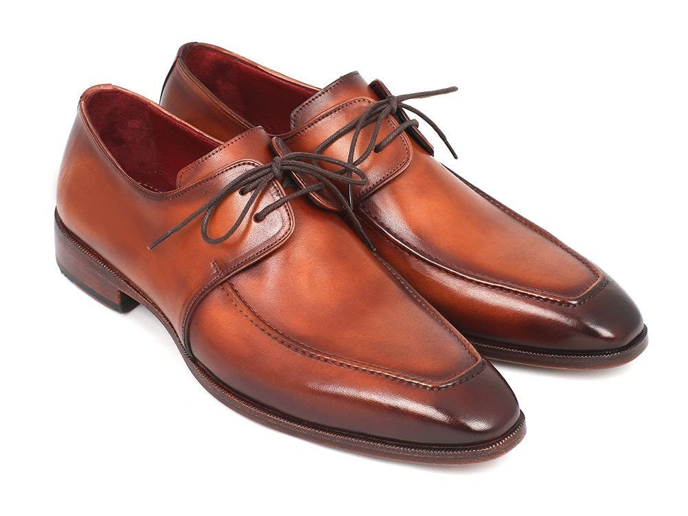 Shoes - Paul Parkman Brown Leather Apron Derby Shoes (ID#33SX92)