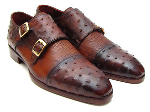 Brown & Tobacco Ostrich Double Monkstraps - Tie This Menswear and Accessories