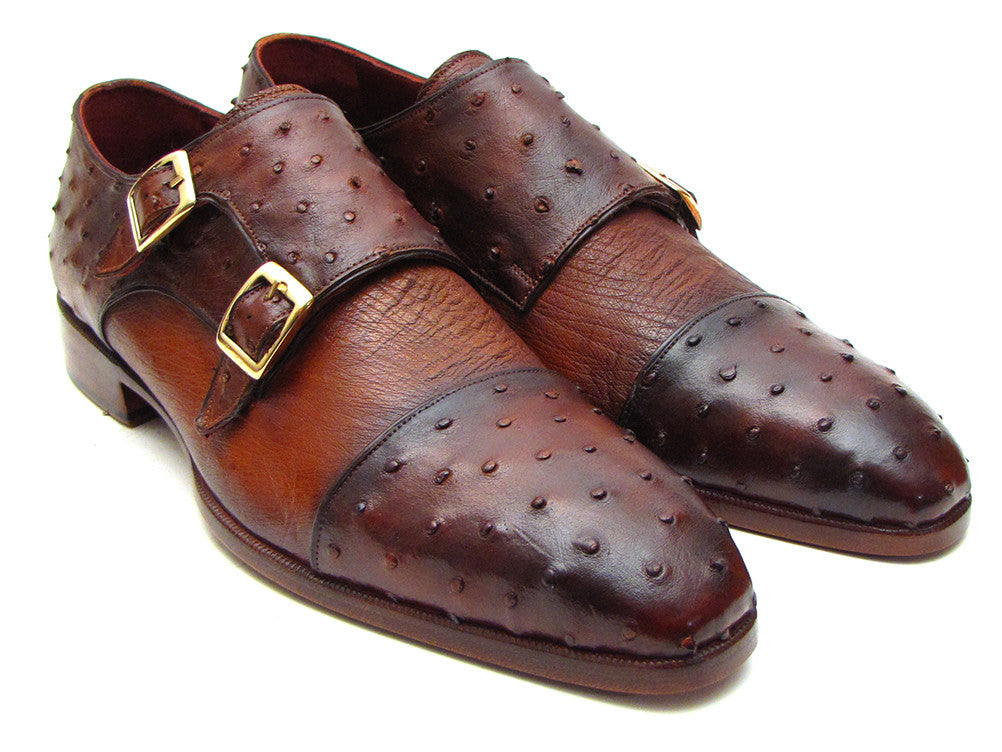 Shoes - Paul Parkman Brown & Tobacco Genuine Ostrich Double Monkstraps (ID#43K68)