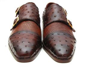 Paul Parkman Brown & Tobacco Ostrich Double Monkstraps - TieThis Neckwear and Accessories and TieThis.com