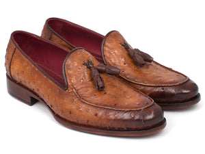 Shoes - Paul Parkman Camel Brown Genuine Ostrich Tassel Loafers (ID#OST834CML)