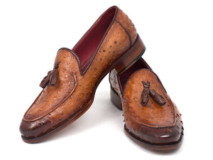 Paul Parkman Camel Brown Ostrich Tassel Loafers - TieThis Neckwear and Accessories and TieThis.com