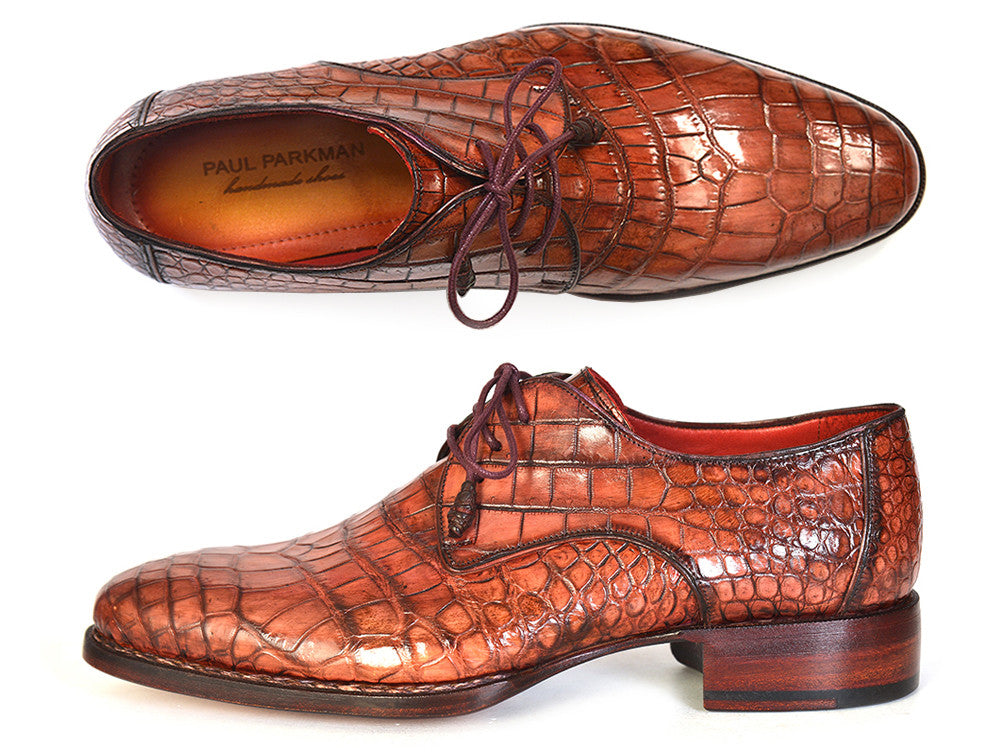 Shoes - Paul Parkman Genuine Crocodile Goodyear Welted Derby Shoes (ID#44Z87)