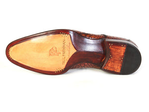 Paul Parkman Tan Crocodile Goodyear Welted Derby - TieThis Neckwear and Accessories and TieThis.com