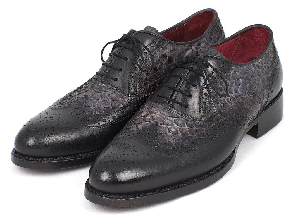 Shoes - Paul Parkman Goodyear Welted Gray Genuine Python & Black Calfskin Wingtip Oxfords (ID#27PT-GRYBLK)