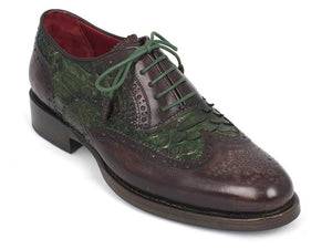 Paul Parkman Green Python & Brown Calfskin Wingtip Oxfords - TieThis Neckwear and Accessories and TieThis.com