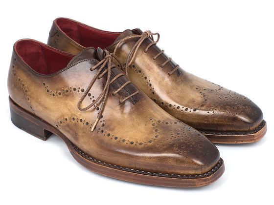 Shoes - Paul Parkman Goodyear Welted Men's Wingtip Oxfords Antique Olive (ID#87OLV54)