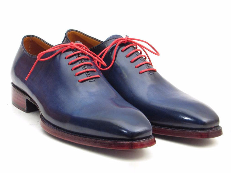Shoes - Paul Parkman Goodyear Welted Wholecut Oxfords Navy Blue Hand-Painted (ID#044CR)