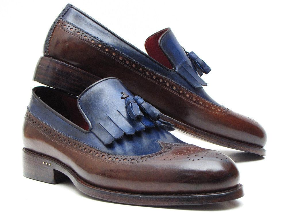 Shoes - Paul Parkman Kiltie Tassel Loafer Dark Brown & Navy (ID#KT44BN)