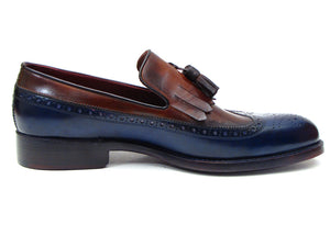 Paul Parkman Kiltie Tassel Loafer Navy & Light Brown - TieThis Neckwear and Accessories and TieThis.com