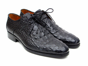 Black Crocodile Embossed Calfskin Derby - TieThis® Neckwear and Accessories
