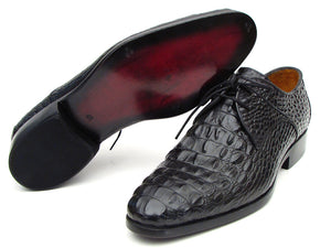 Paul Parkman Black Crocodile Embossed Calfskin Derby - TieThis Neckwear and Accessories and TieThis.com