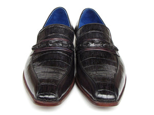 Paul Parkman Black Crocodile & Purple Calfskin Loafers - TieThis Neckwear and Accessories and TieThis.com