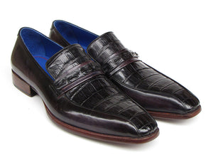 Black Crocodile & Purple Calfskin Loafers - TieThis® Neckwear and Accessories