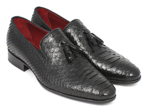 Black Python Tassel Loafers - TieThis® Neckwear and Accessories