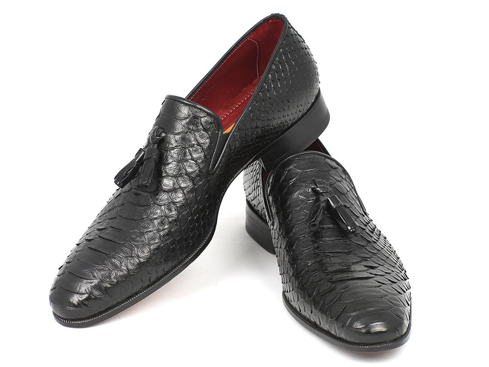Shoes - Paul Parkman Men's Black Genuine Python Tassel Loafers (ID#26GH41)