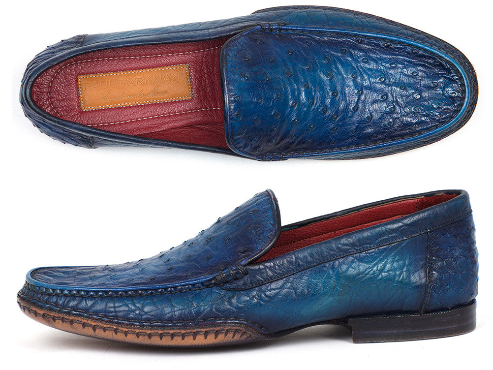 Paul Parkman Blue Ostrich Opanka Stitched Moccasin Loafers - TieThis Neckwear and Accessories and TieThis.com