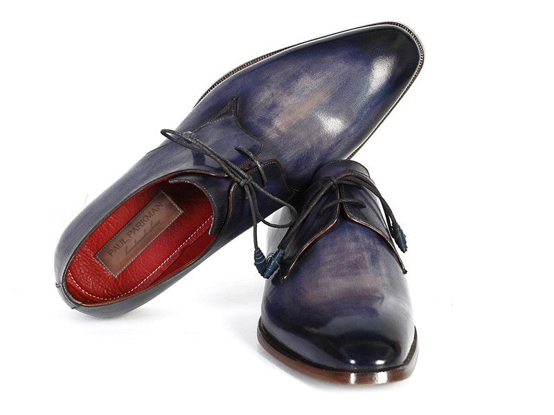 Shoes - Paul Parkman Men's Blue & Navy Hand-Painted Derby Shoes (ID#PP2279)