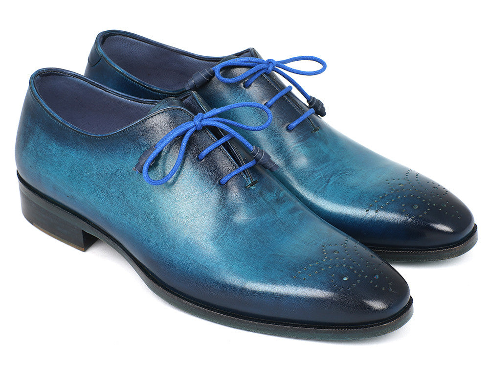 Shoes - Paul Parkman Men's Blue & Navy Medallion Toe Oxfords (ID#VN82BL)