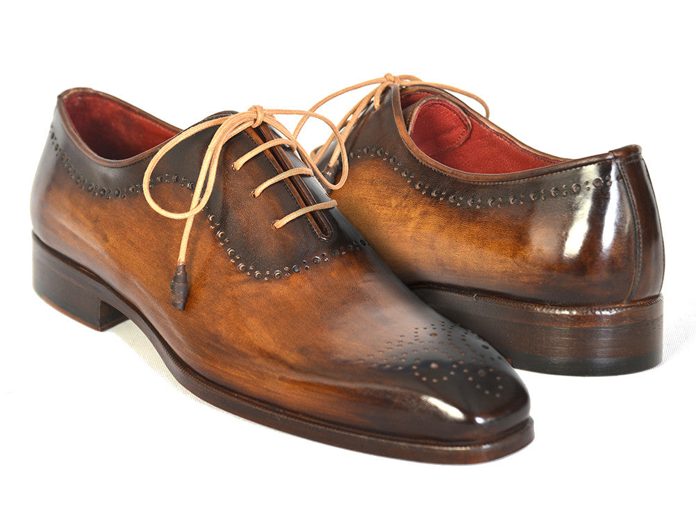 Shoes - Paul Parkman Men's Brown & Camel Medallion Toe Oxfords (ID#GF61AZ)