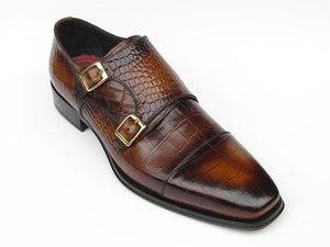 Paul Parkman Brown Crocodile Embossed Calfskin Double Monkstrap - TieThis® Neckwear and Accessories