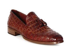 Paul Parkman Brown Crocodile Embossed Calfskin Tassel Loafer - TieThis Neckwear and Accessories and TieThis.com