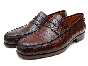 Paul Parkman Brown Crocodile Penny Loafers - TieThis Neckwear and Accessories and TieThis.com