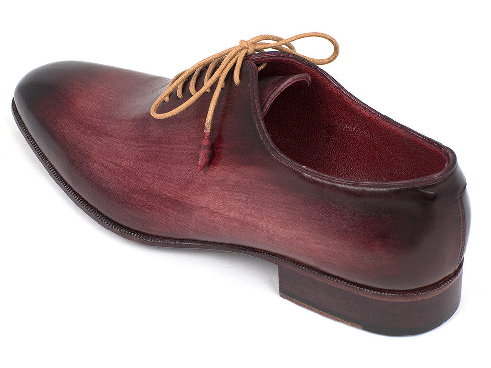 Shoes - Paul Parkman Men's Burgundy Whole Cut Plain Toe Oxfords (ID#DS65BUR)