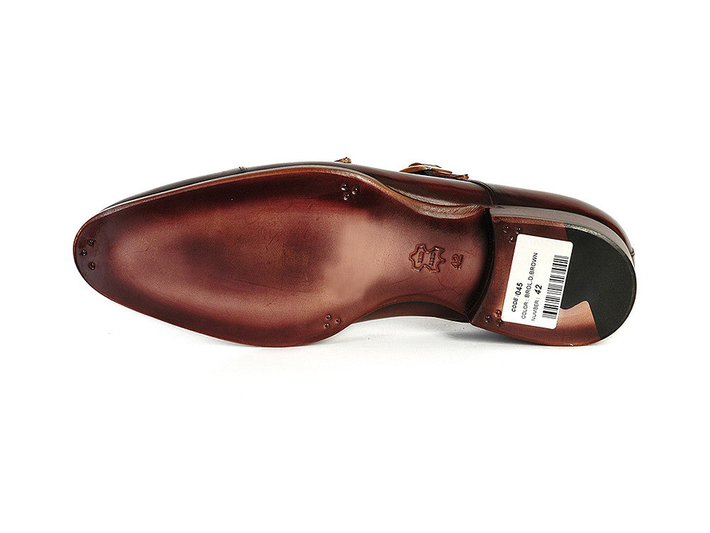 Shoes - Paul Parkman Men's Cap-Toe Double Monkstraps Dark Brown (ID#045-BRL)