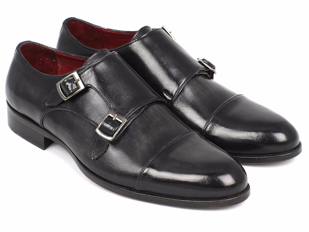 Paul Parkman Cap-Toe Double Monkstraps Gray & Black - TieThis Neckwear and Accessories and TieThis.com