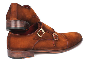 Paul Parkman Captoe Double Monkstrap Camel Suede - TieThis Neckwear and Accessories and TieThis.com