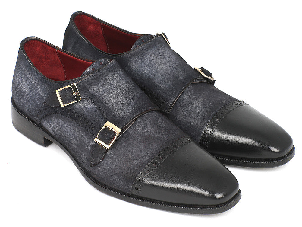 25183089085 Paul Parkman Navy Suede Captoe Double Monkstraps - TieThis Neckwear and  Accessories and TieThis.com