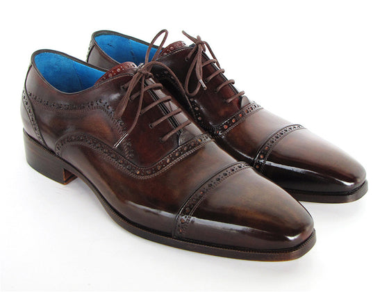 Shoes - Paul Parkman Men's Captoe Oxfords Anthracite Brown Hand-Painted Leather (ID#024-ANTBRW)
