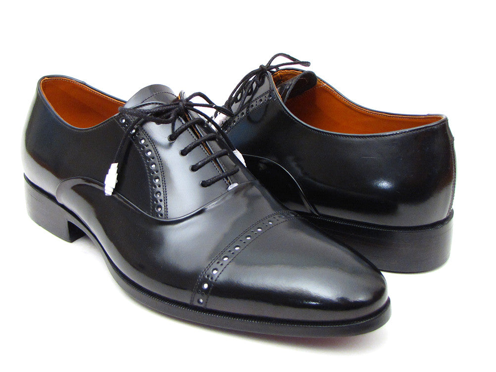 Paul Parkman Black Formal Dress Captoe Oxfords - TieThis Neckwear and Accessories and TieThis.com