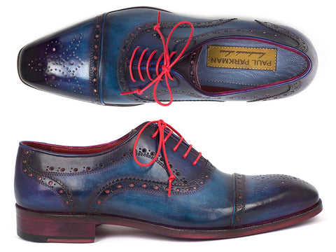 Shoes - Paul Parkman Men's Captoe Oxfords Blue & Parliament (ID#024-PARL)