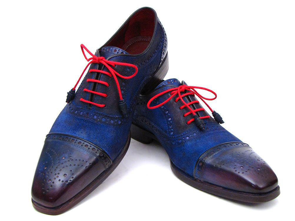 a2bd20fde45ff Paul Parkman Blue Leather and Suede Captoe Oxfords - TieThis Neckwear and  Accessories and TieThis.