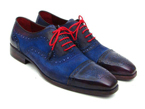 Paul Parkman Blue Leather and Suede Captoe Oxfords - TieThis® Neckwear and Accessories