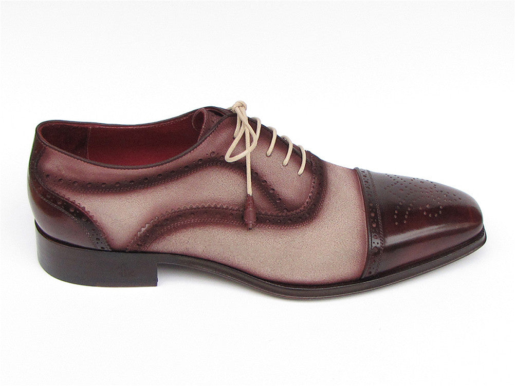 ce2362fd57cf5 Paul Parkman Bordeaux and Beige Leather and Suede Captoe Oxfords - TieThis  Neckwear and Accessories and