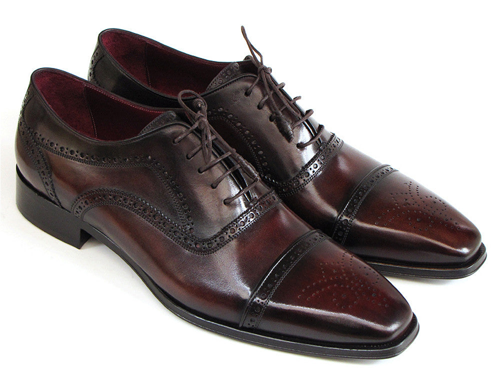 Shoes - Paul Parkman Men's Captoe Oxfords Bordeaux & Brown Hand-Painted (ID#024-BRWBRD)