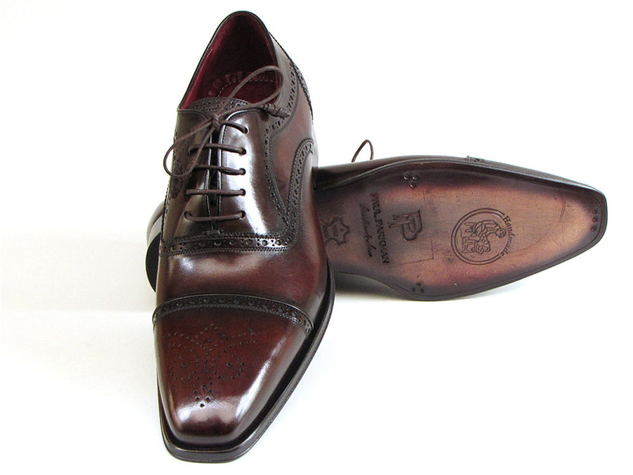 Paul Parkman Captoe Oxfords Bordeaux & Brown - TieThis Neckwear and Accessories and TieThis.com