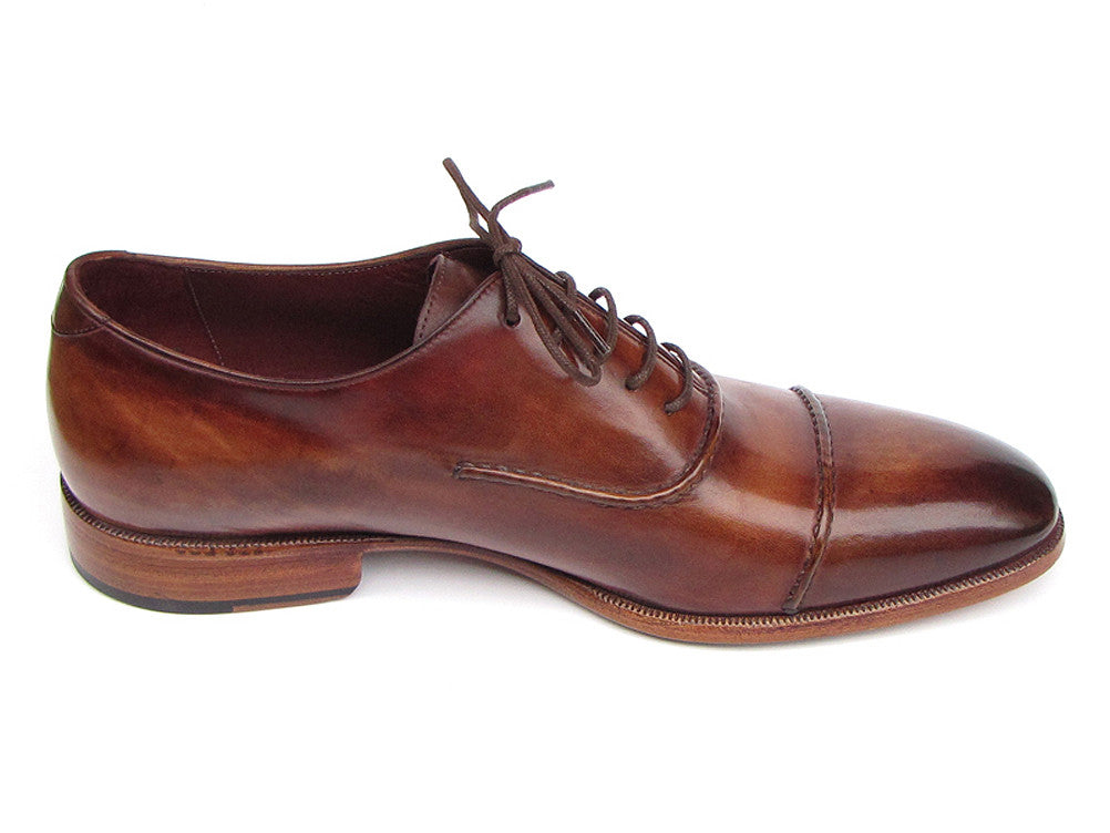 Shoes - Paul Parkman Men's Captoe Oxfords Brown Hand Painted Shoes (ID#077-BRW)